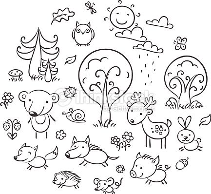 Set Of Cartoon Forest Animals And Plants Black And White Outline Animal Outline Easy Animal Drawings Free Vector Art