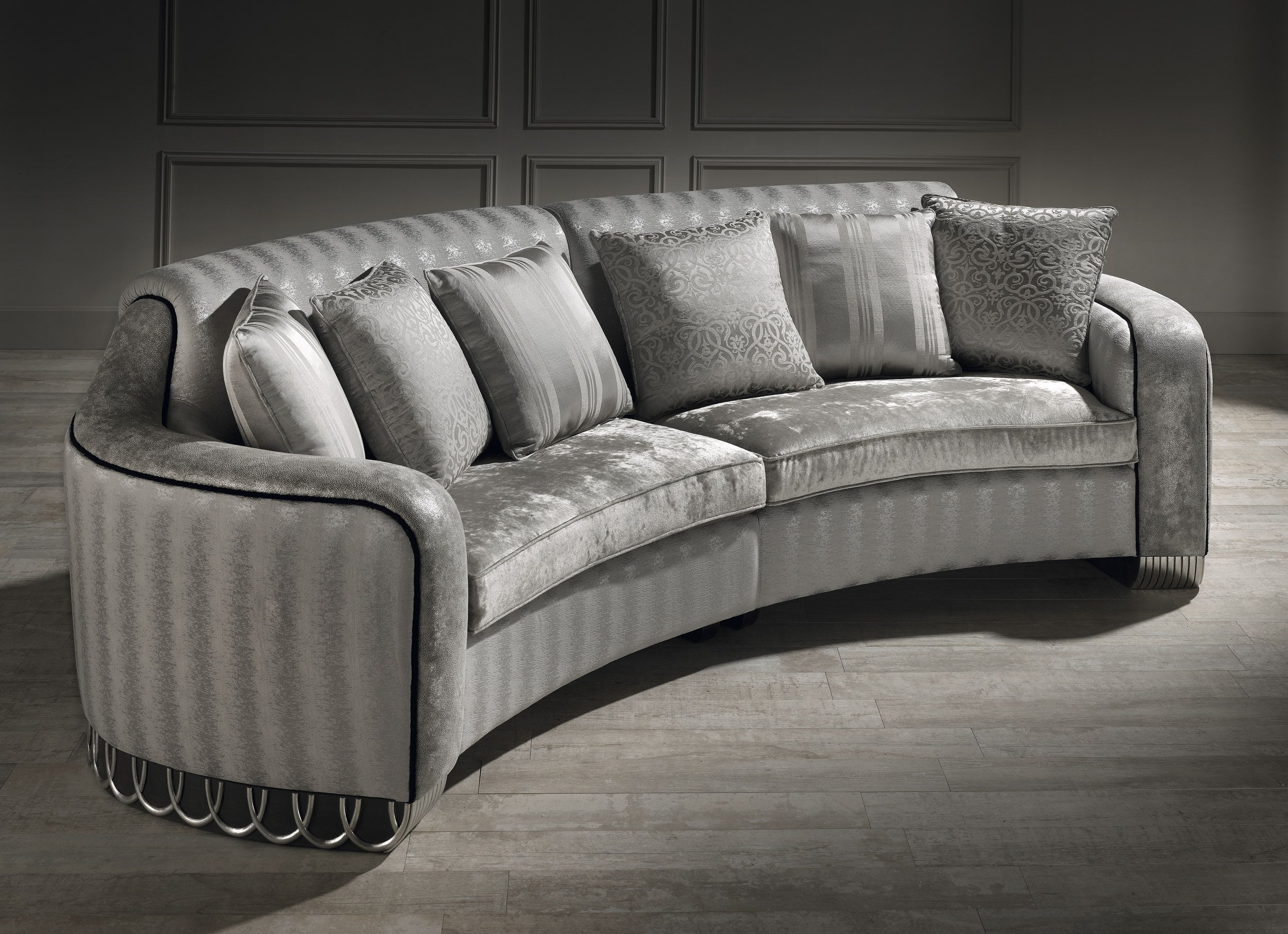 small curved sofa, luxury small curved sofa, silver sofa