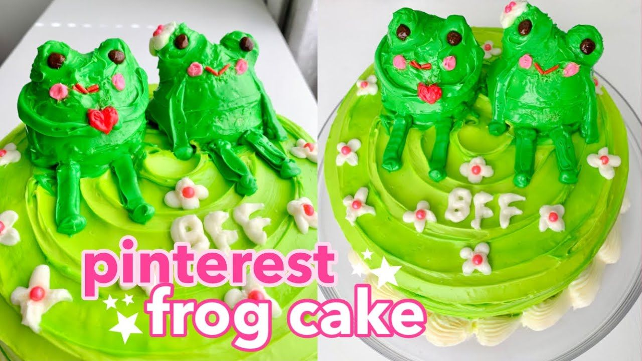 Making The Pinterest Frog Cake How To Make The Viral Frog Cake From Pinterest And Tiktok Youtube In 2021 Frog Cakes Cake Cake Recipes
