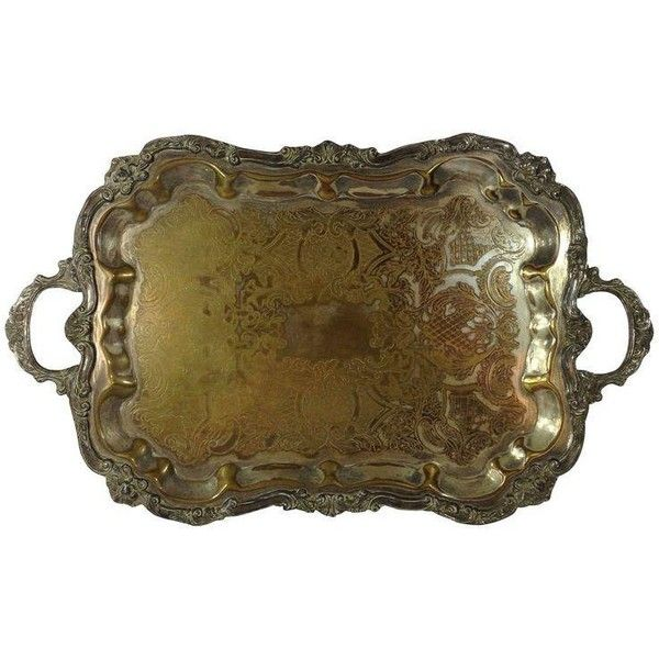 Large Decorative Serving Trays Beauteous Antique Silver Plated Large Tea Tray 1 340 Pln ❤ Liked On Decorating Design