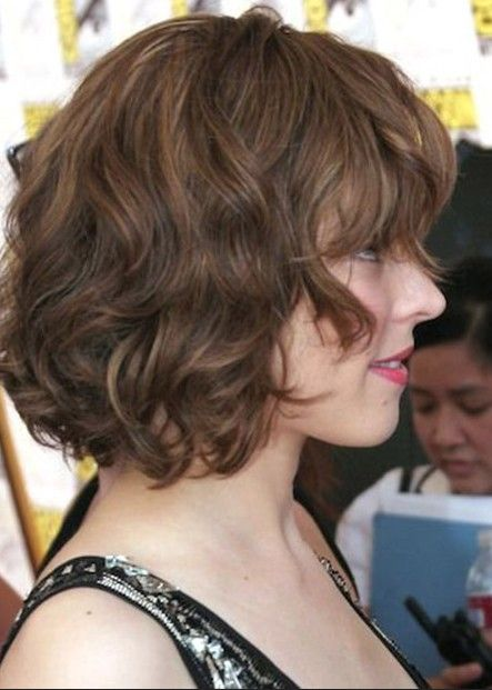side view of soft wavy curly bob
