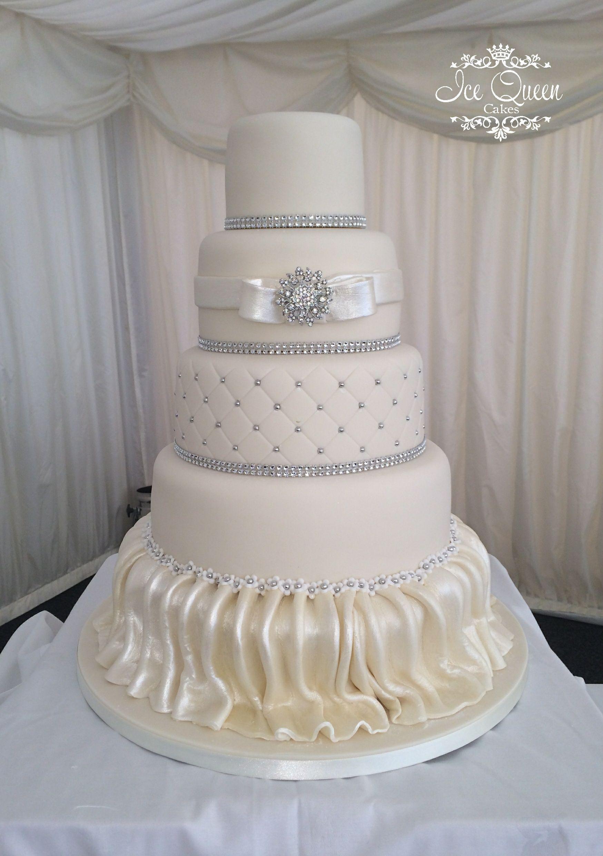 5 Tier Ivory Skirted Wedding Cake Ice Queen Cakes Designer Wedding - Wedding Cakes Wigan