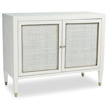 Jaden Modern Classic White Rattan Brass 2 Door Bar Cabinet Buffet ...