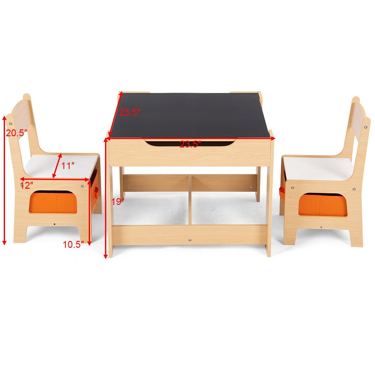 Costzon Kids Table and 2 Chairs Set, 3 in 1