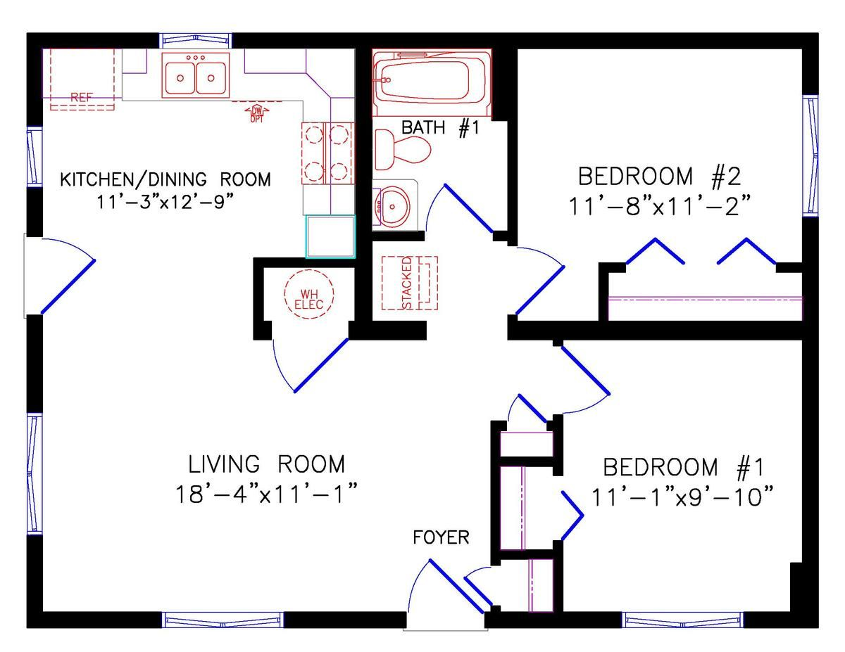Simple 2BR/1B plan House floor plans, Simple house