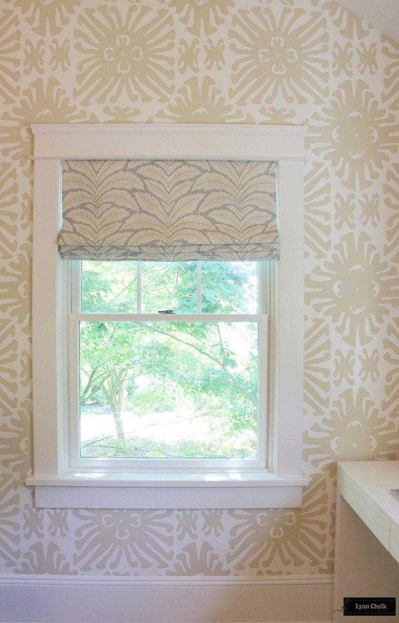 Quadrille Sigourney Wallpaper, beige. Powder bath