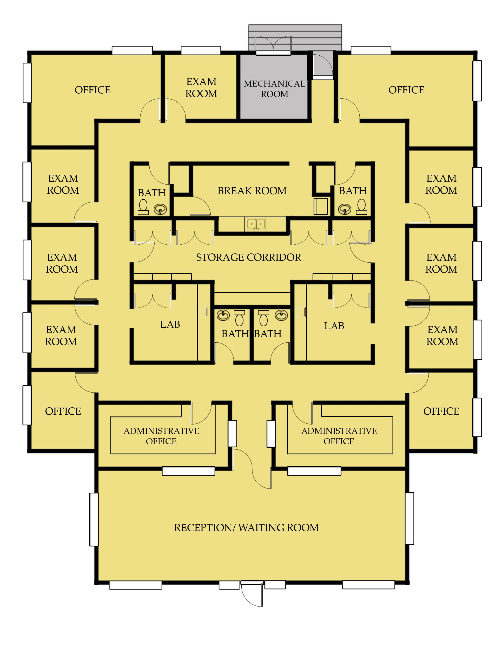 Medical office building floor plans medical pinterest for Two story office building plans