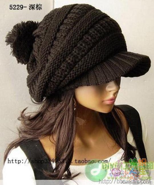 вязаная кепка с козырьком спицами Crochet вязанная шапка