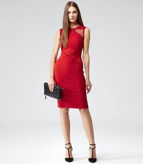 1a7828455f07 Reiss Evangeline Lace Panel Bodycon Dress in Red - Lyst