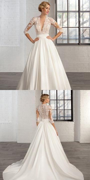 Langes Spitzenhochzeitskleid, F0440 – Hochzeit und Braut