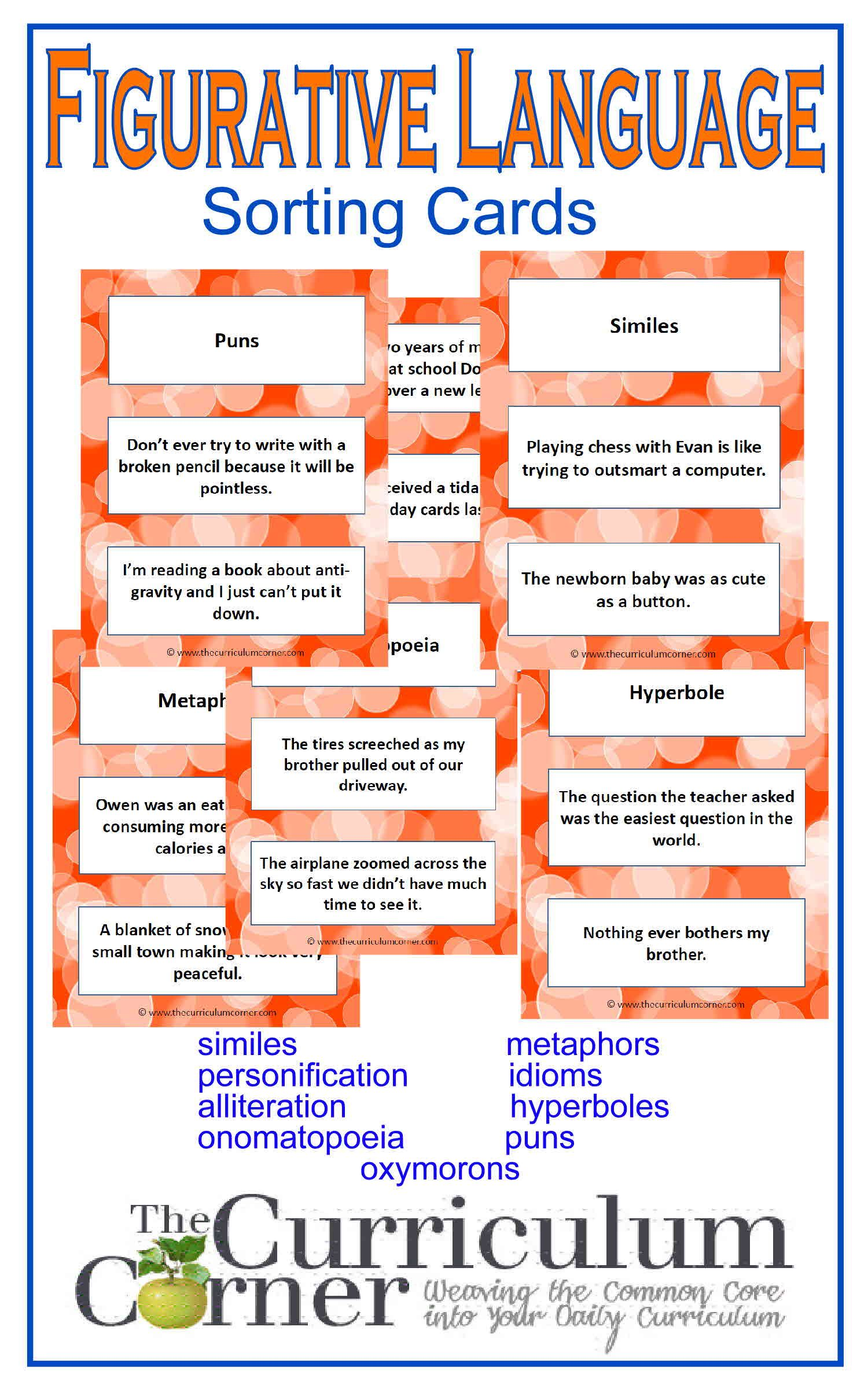 figurative language cards language the o jays and curriculum figurative language sorting cards from the curriculum corner similes metaphors personification