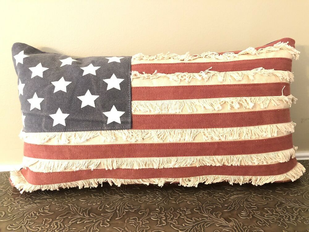 Ebay Sponsored Primitives By Kathy Patriotic American Flag Throw Pillow 19x10 Red Blue Stars Primitives By Kathy American Flag Fashion American Flag