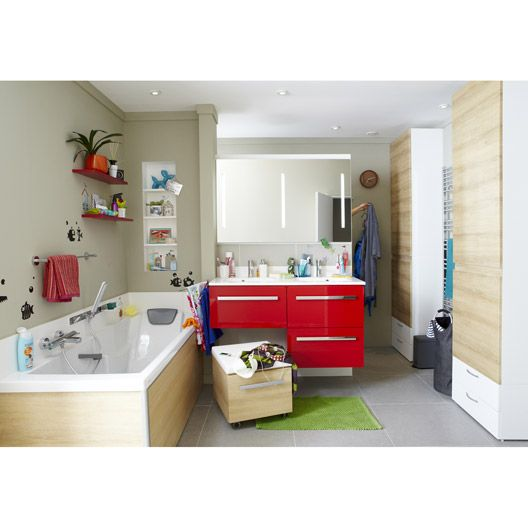 Meuble de salle de bains Néo, rouge pour les filles Idées pour la - leroy merlin meuble salle de bain neo