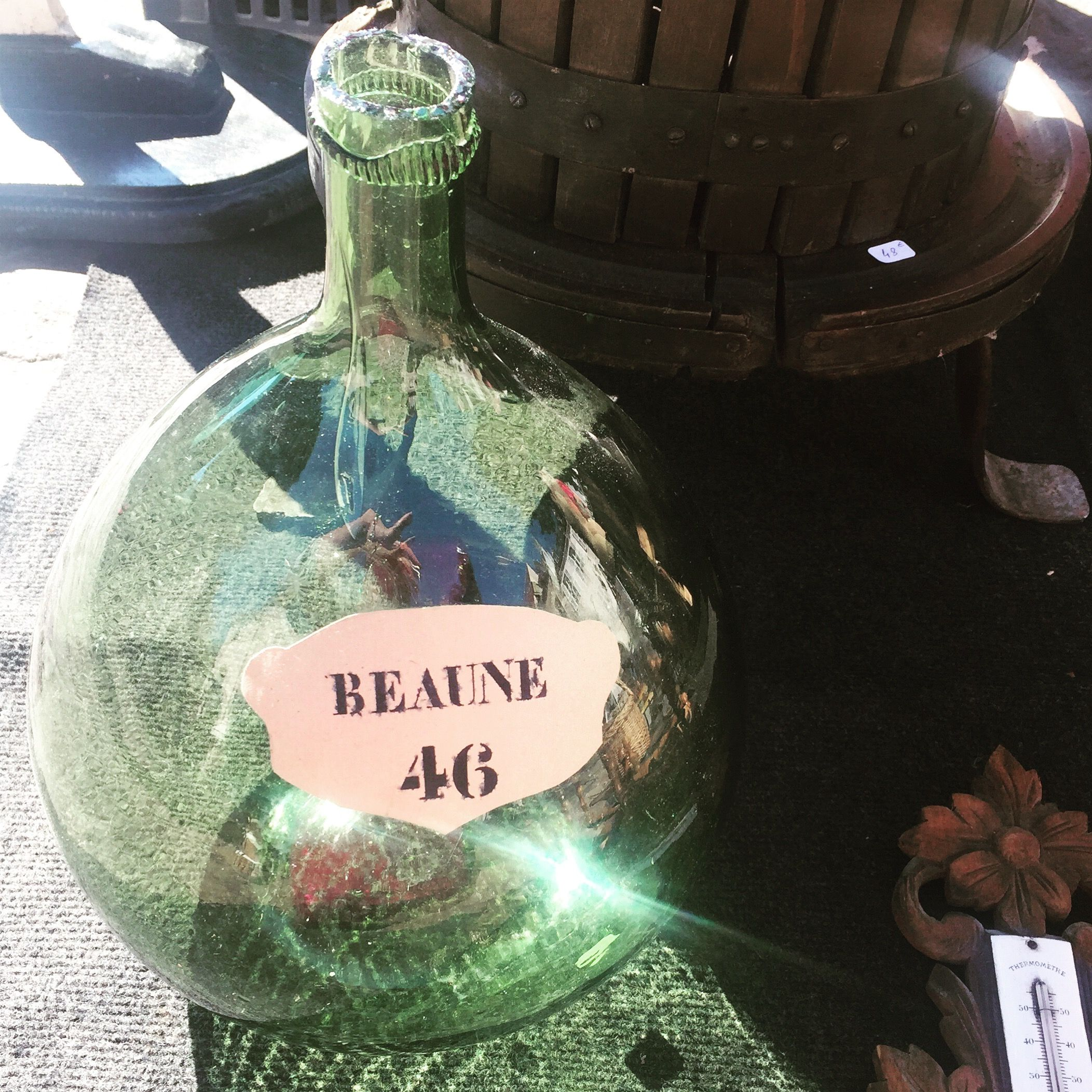 "Fell in love with this old ""bonbonne"" at the Beaune Saturday market but a little difficult to pack in my suitcase, and all the corners at our vacation rentals are full..."