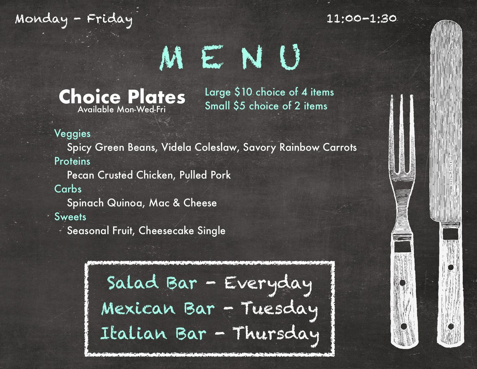 What S For Lunch Join Us This Week For Choice Plate Salad Bar Mexican Bar Italian Bar Homemade Soups An Salad Bar Pecan Crusted Chicken Fruit In Season