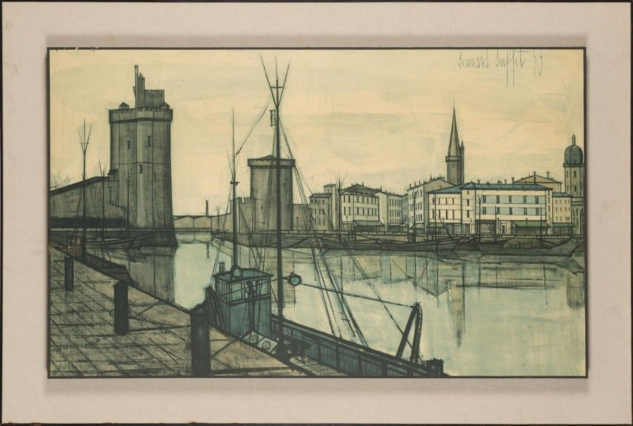 Bernard BUFFET Port De La Rochelle Reproduction Encadrée