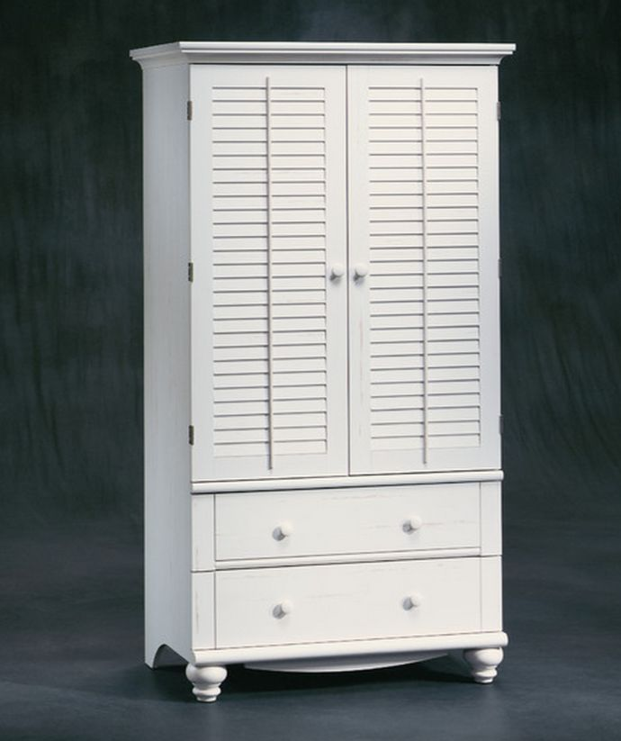 Wood Armoire Wardrobe Organizer Dresser Clothing TV Cabinet Bedroom Closet  Rod | EBay