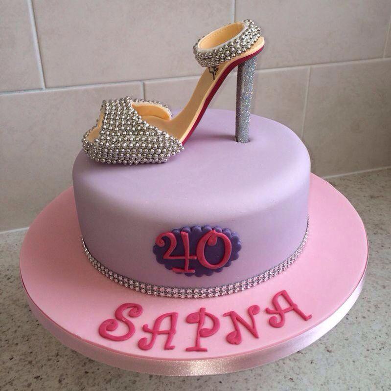 Ladies 40th birthday cake with stiletto wwwicequeencakescouk