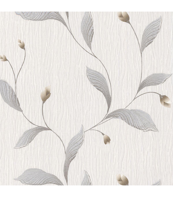 Dahlia Silver Modern Floral Wallpaper Modern Floral Wallpaper