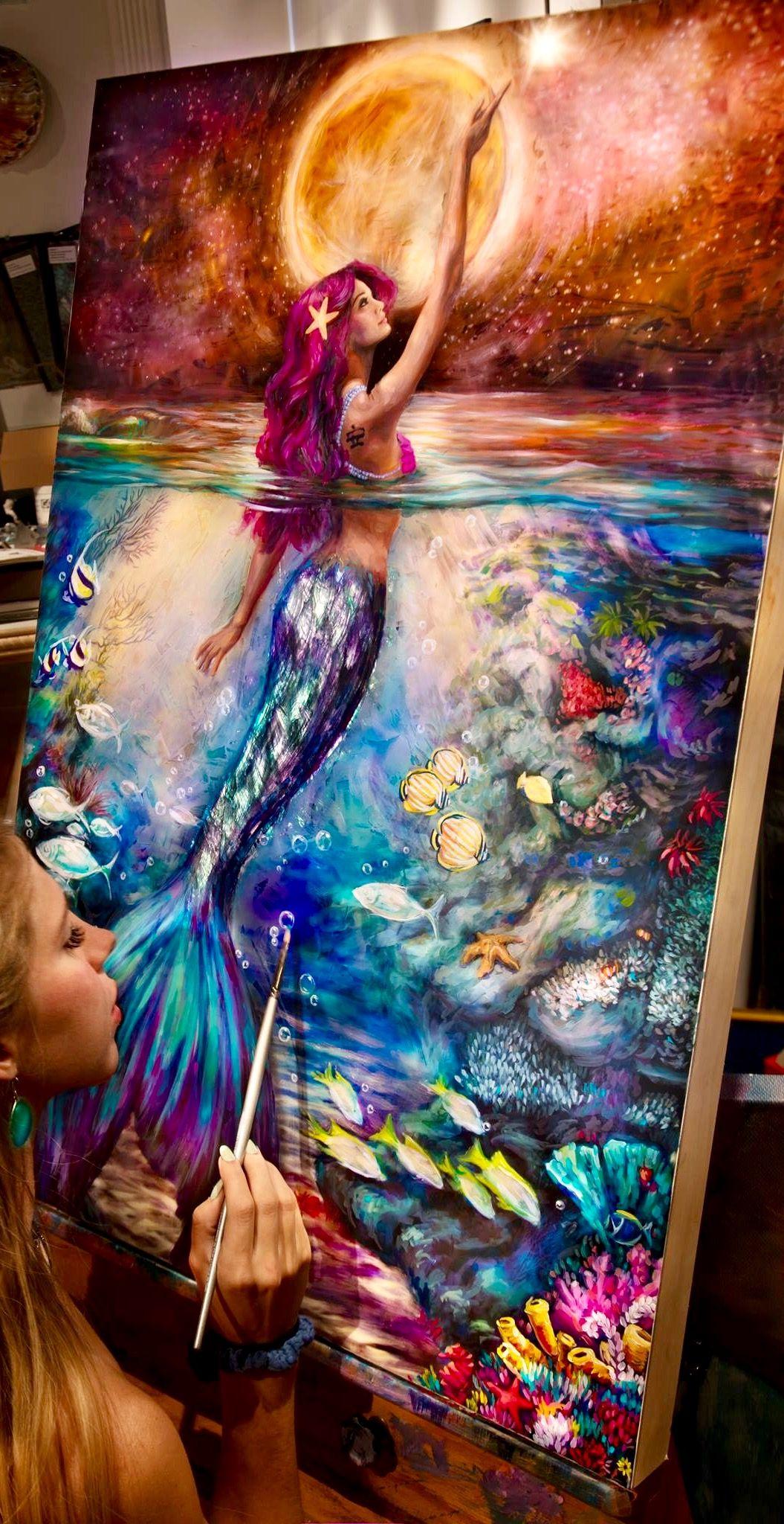 Pin By Joann Savard On Art Amazing Art Painting Mermaid Art Oil Pastel Art