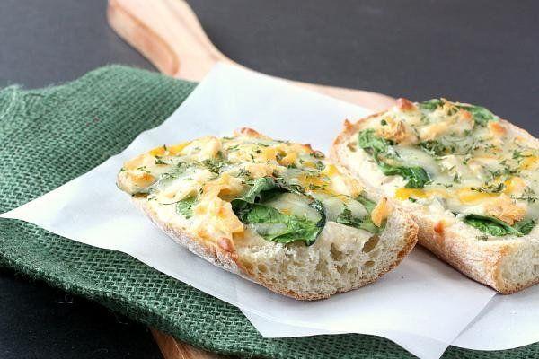 Chicken and spinach alfredo pizza