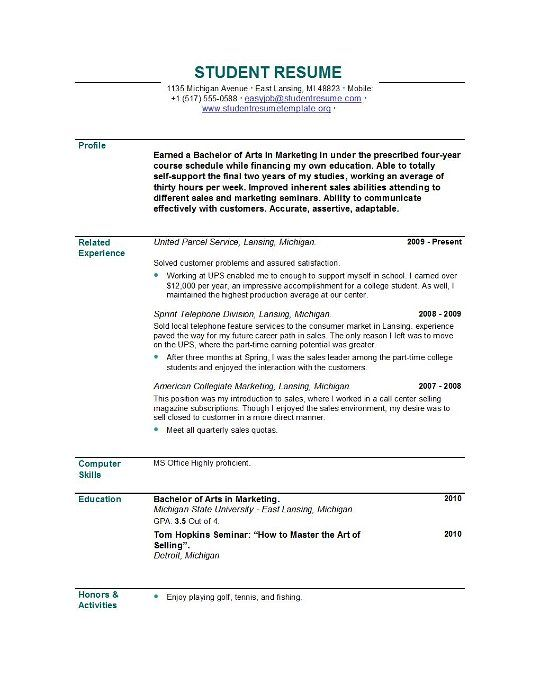 Resume Samples For Students Resume Templates Easyjob  News To Go 2  Pinterest  Student Resume .