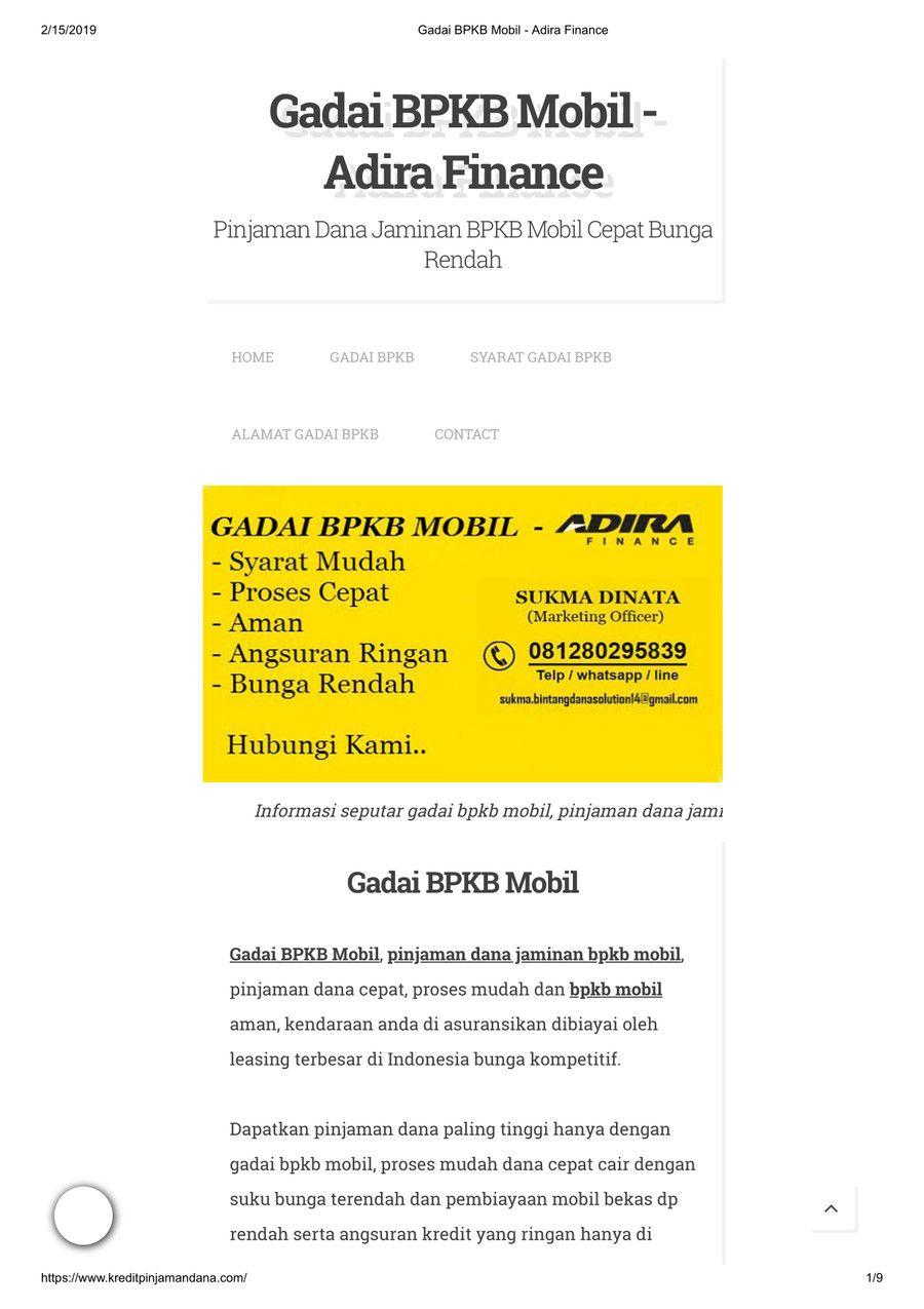 Gadai BPKB Mobil Adira Finance | Marketing, Mobil, Perbankan