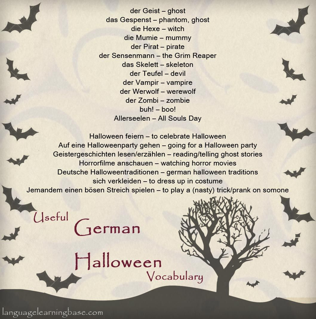 German Halloween Vocabulary