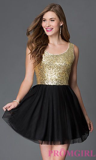 Short A Line Sleeveless Dress In Black And Gold At Promgirl