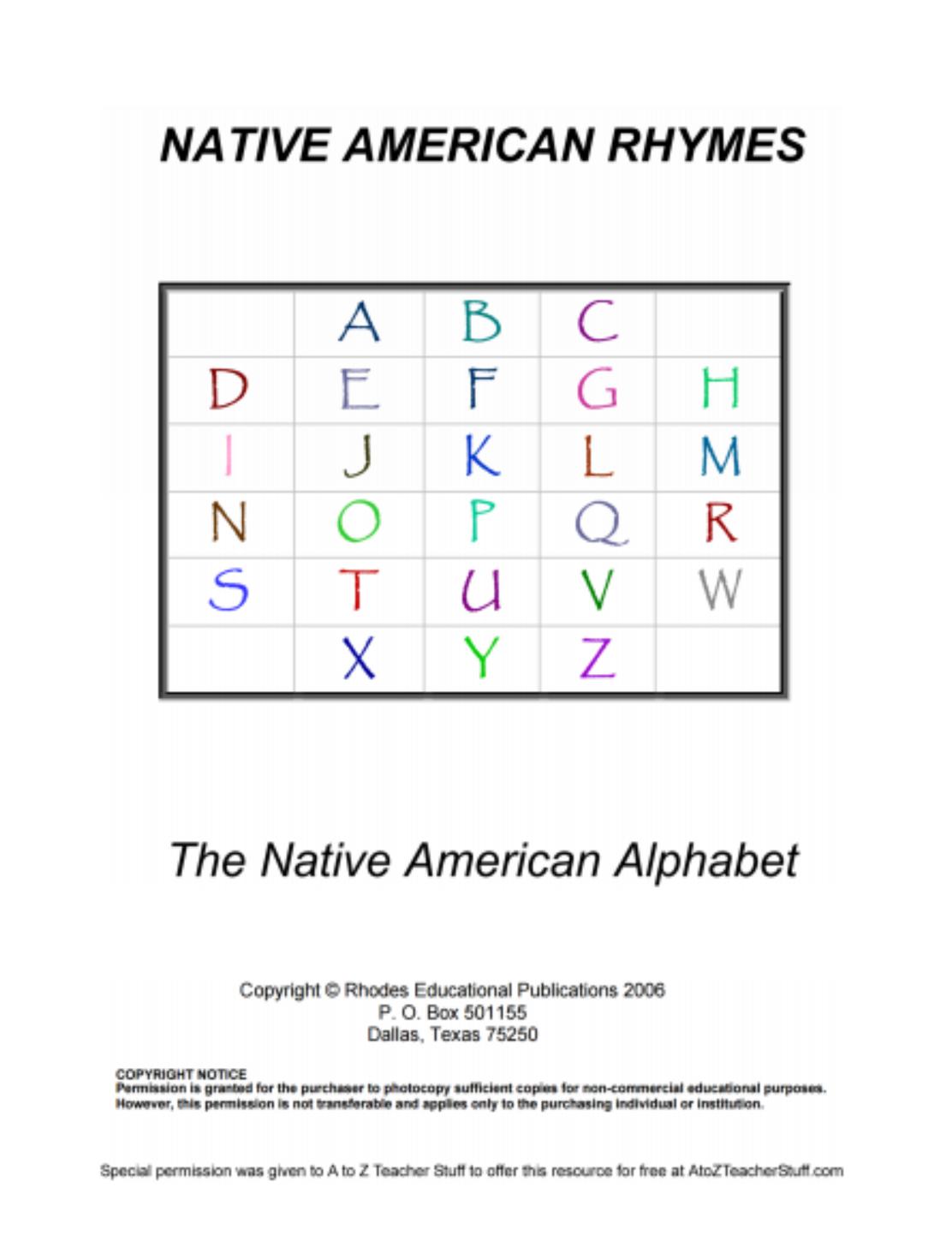 Native American Rhymes Printable Resources