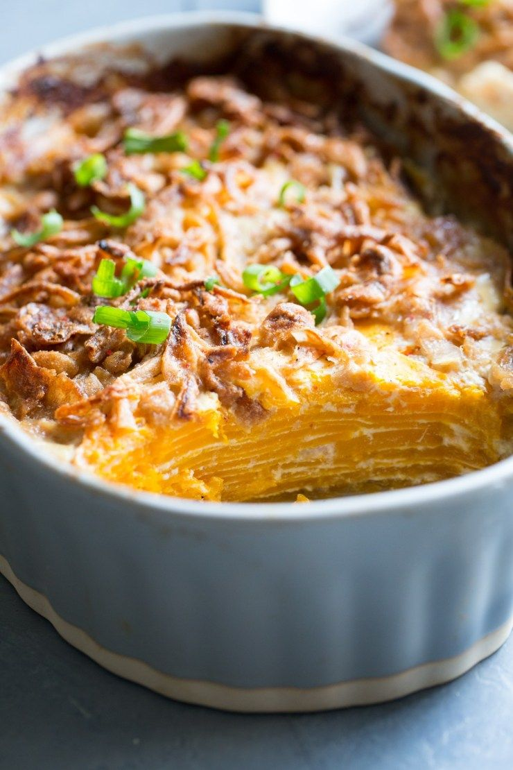 Butternut squash au gratin with crispy shallots dairy