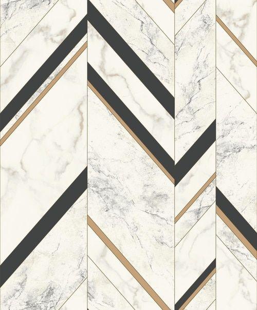 York Wallcoverings Mm1805 Mixed Materials Marble Chevron Black Gold Chevron Wallpaper Marble Flooring Design Marble Floor Pattern
