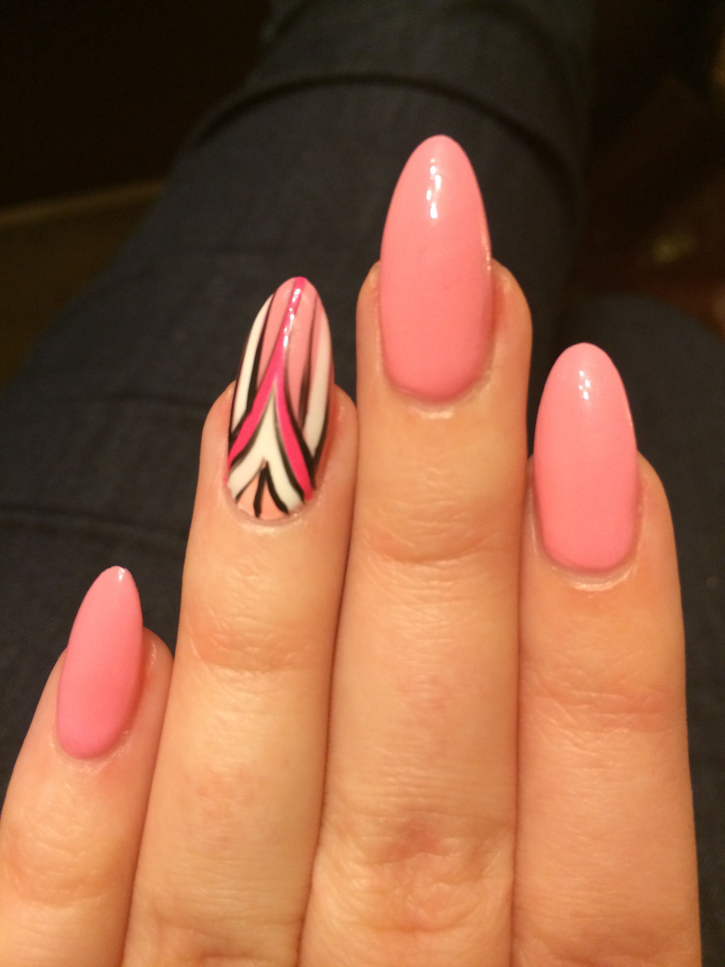 Pink stiletto nails with art deco design in white pink coral and ...
