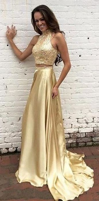 aa24abe1f0f04 Two Pieces Prom Dress,Gold Beaded Graduation Dresses,2 piece Prom Gowns, Sparkle Party Dresses,Gold Beaded Prom Gowns,Two Pieces Formal Dress,Gold  Evening ...