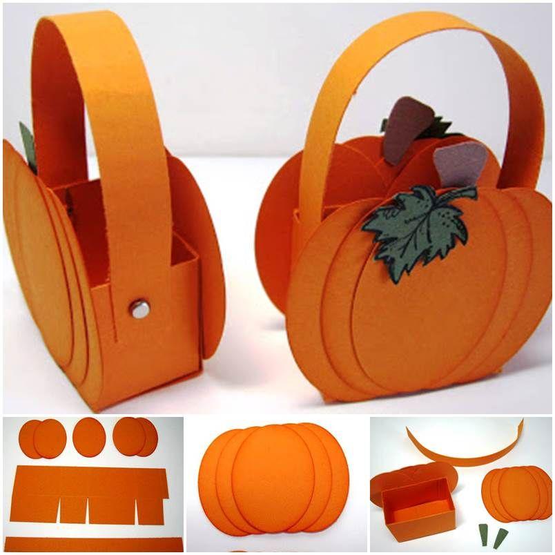 DIY Cute Little Paper Pumpkin Basket