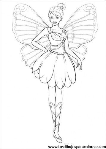 Barbie Mariposa Para Colorear Paginas Para Colorear De Hadas