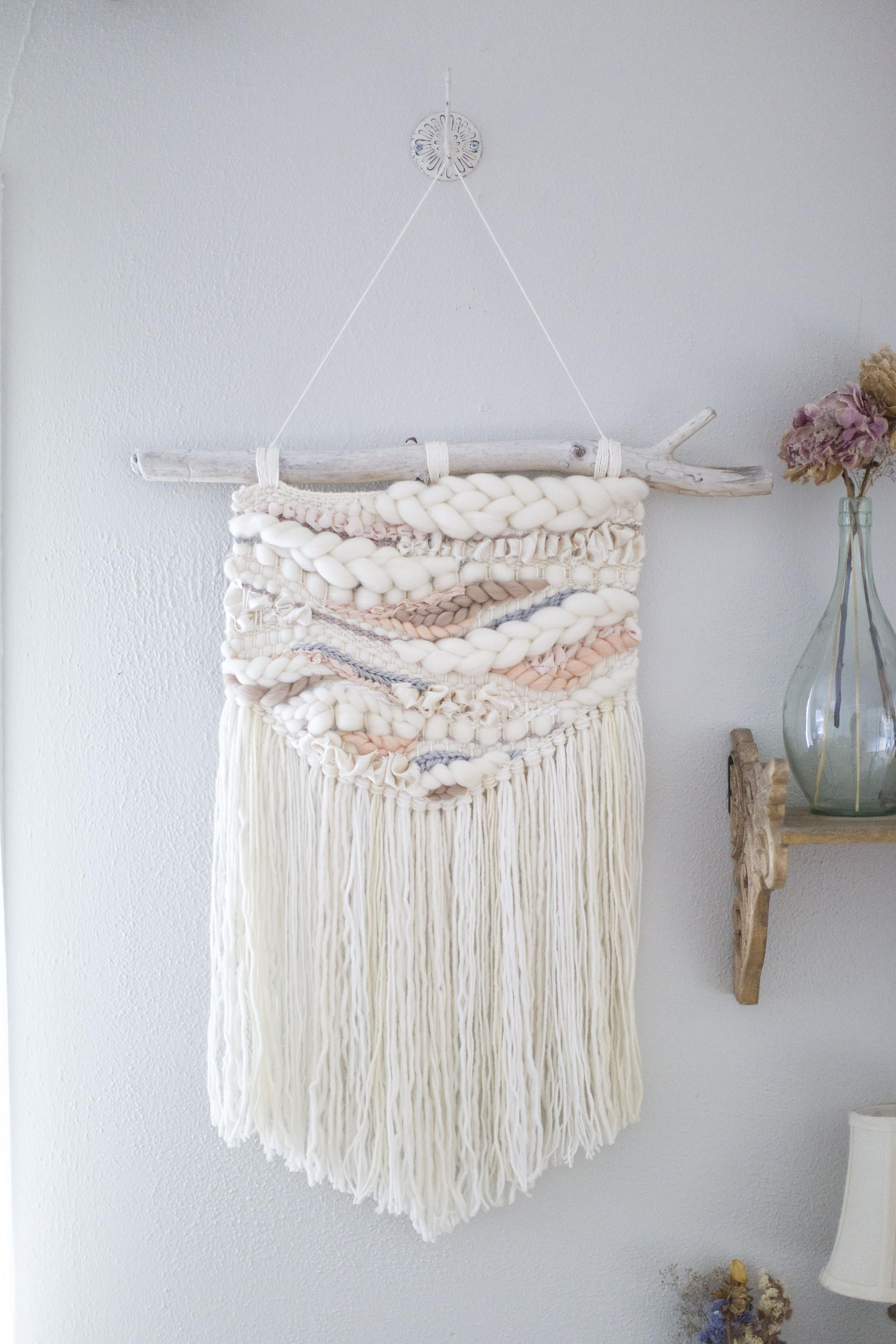 Neutral peach large woven wall hanging mto handwoven wall art
