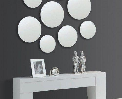 recibidor moderno madera lacado con espejos circulares