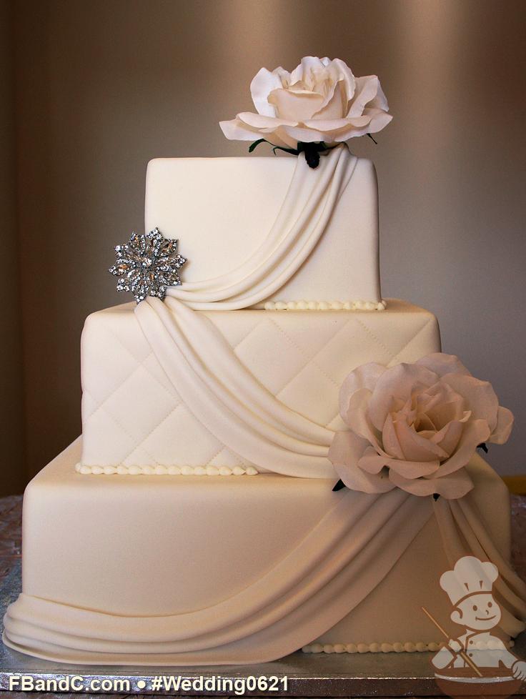 Design W 0621 Fondant Wedding Cake 14 10 6 Serves 160 Fondant Drapes Fresh Flowers Silver Wedding Cakes Fondant Wedding Cakes Wedding Cake Bakers