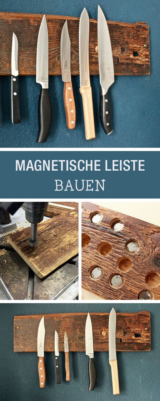 DIY: Messerblock aus Holz selberbauen, hängender Messerblock / hanging storage …
