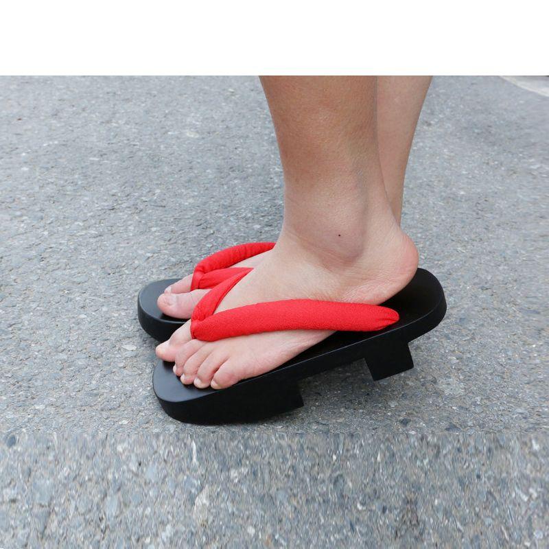 9d4406230bd Cosplay Shoes Women s Shinning Black Painted Uneven Double Heels Wood  Sandals Summer Slippers Flip Flops Classic Geisha Geta