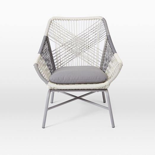 Huron Outdoor Small Lounge Chair & Cushion Gray Lounge