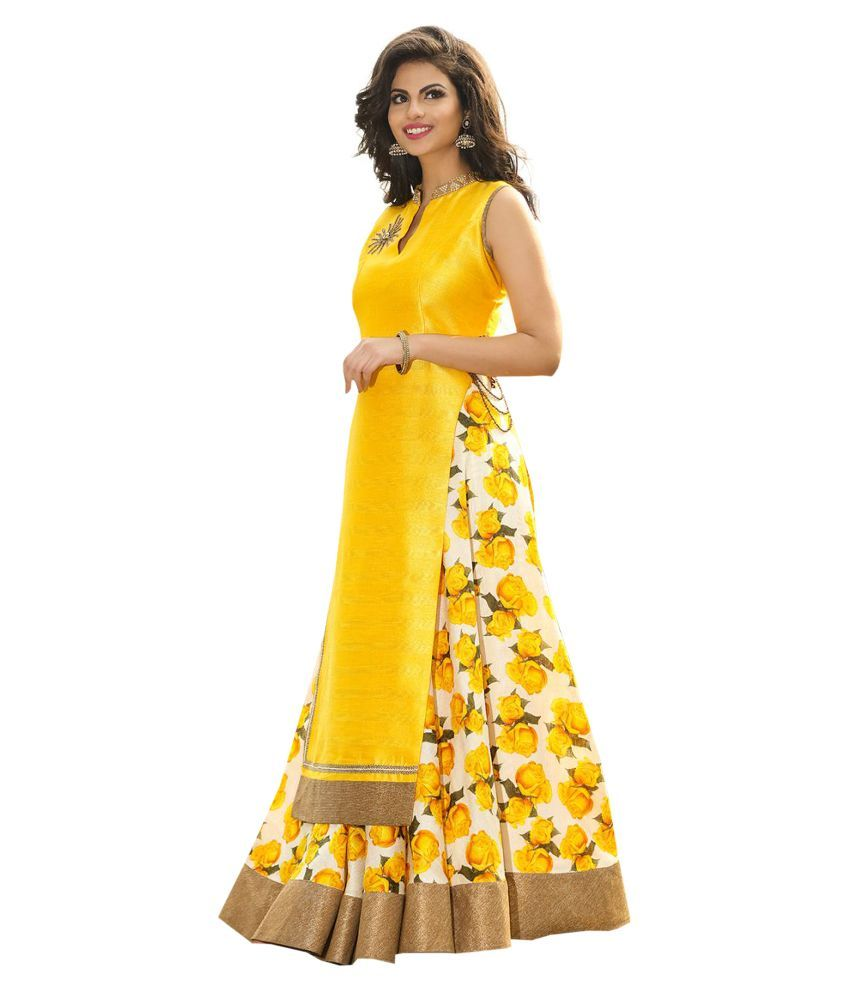 743d479da0 Greenvilla Designs Yellow Bangalore Silk Anarkali Gown Semi Stitched Dress  Material Price in India - Buy Greenvilla Designs Yellow Bangalore Silk  Anarkali ...
