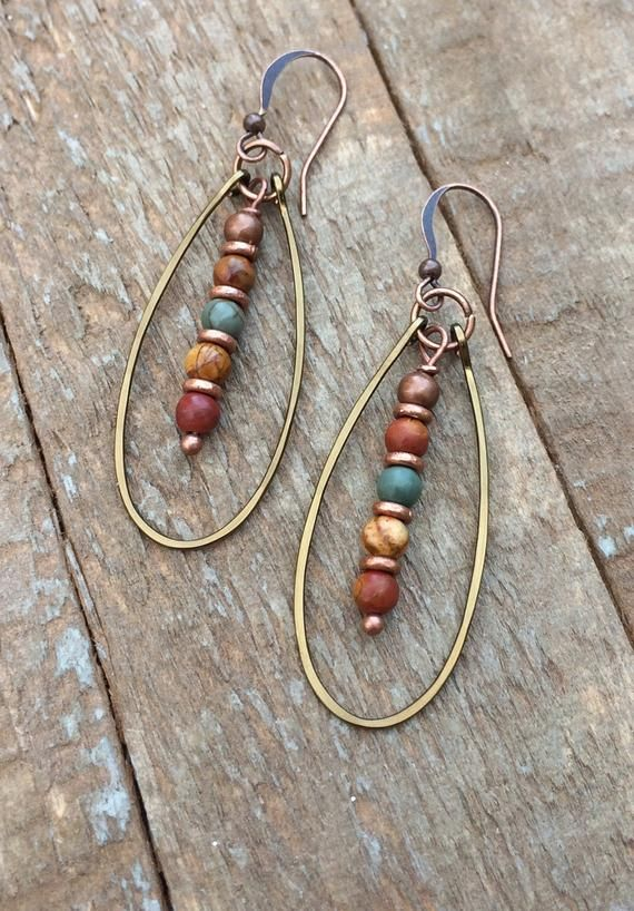 Photo of Boucles d'oreilles Boho Copper Hoop, Jasper Stone Jewelry