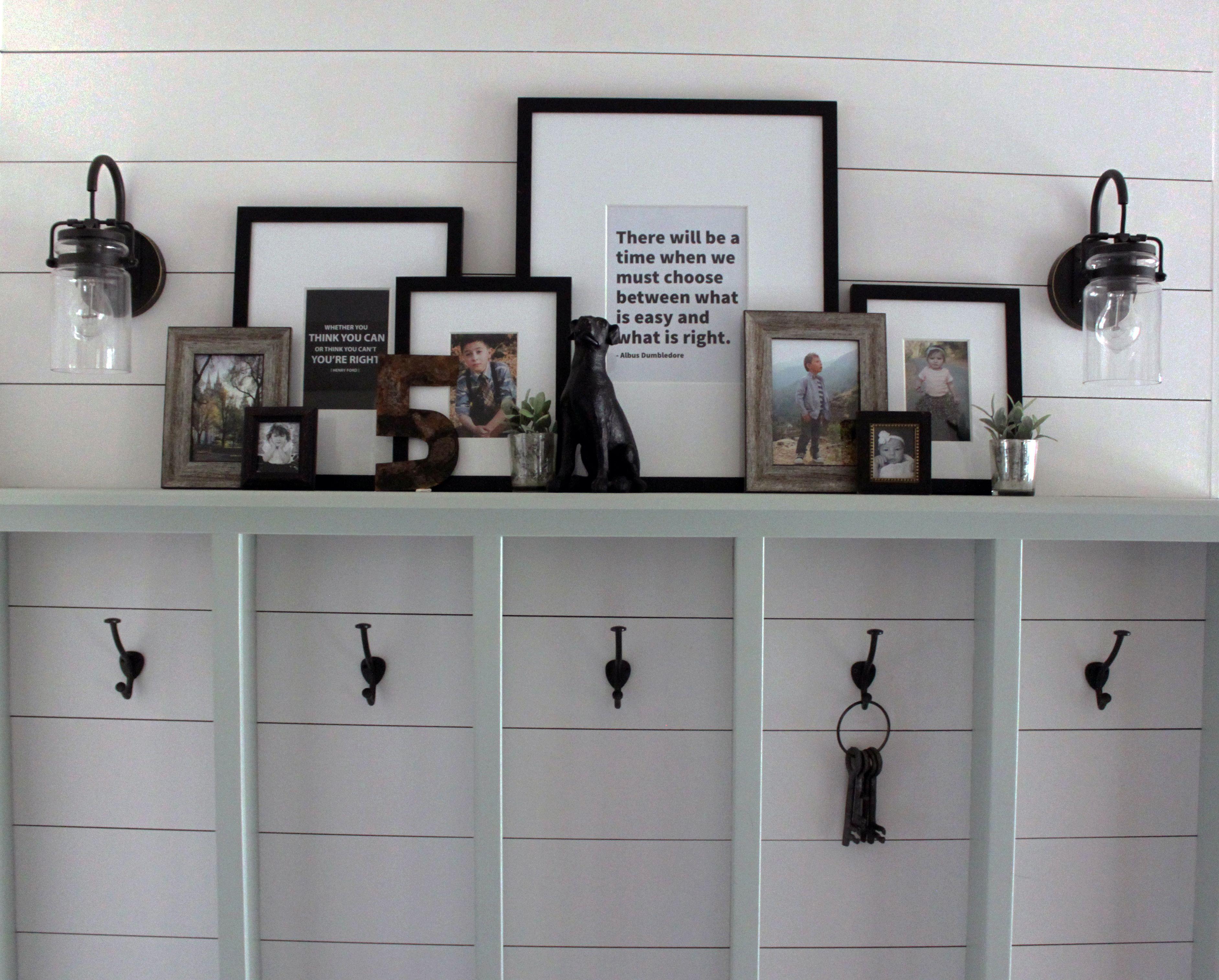 Shelf decorating ideas. Mudroom or backpack station. Inspirational ...
