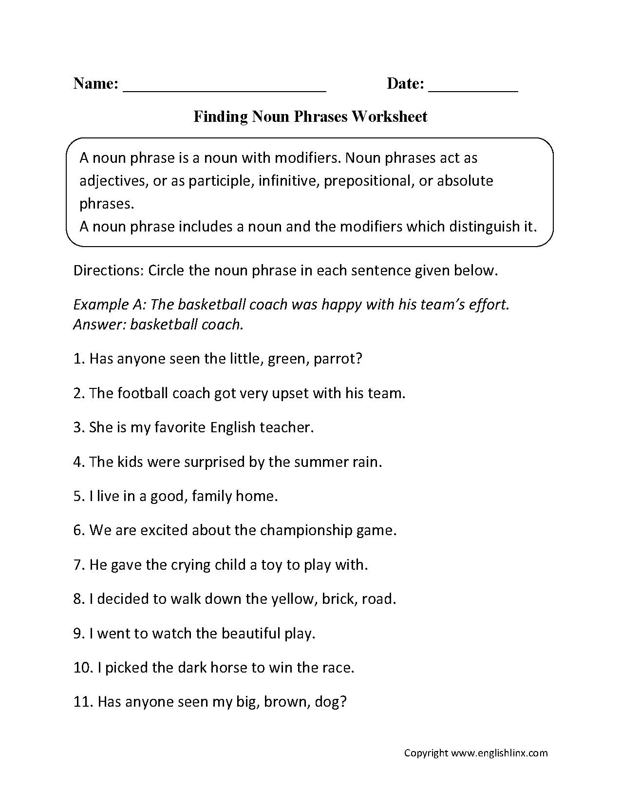 Noun Phrases Worksheets Englishlinx Com Board