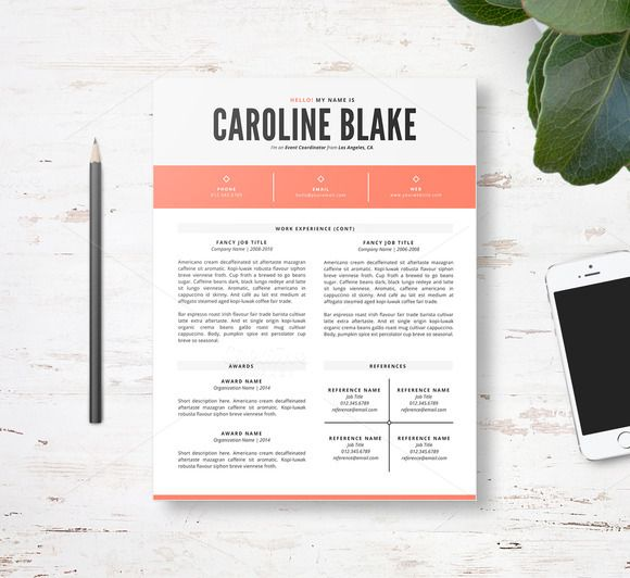 Resume Template 3pk \/\/ two page resume or CV with 3 color options - two page resume