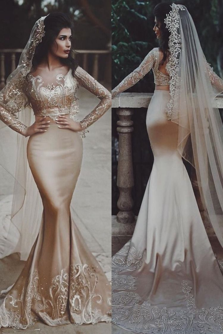 Stunning Gold Embroidered Two Piece Mermaid Wedding Dress
