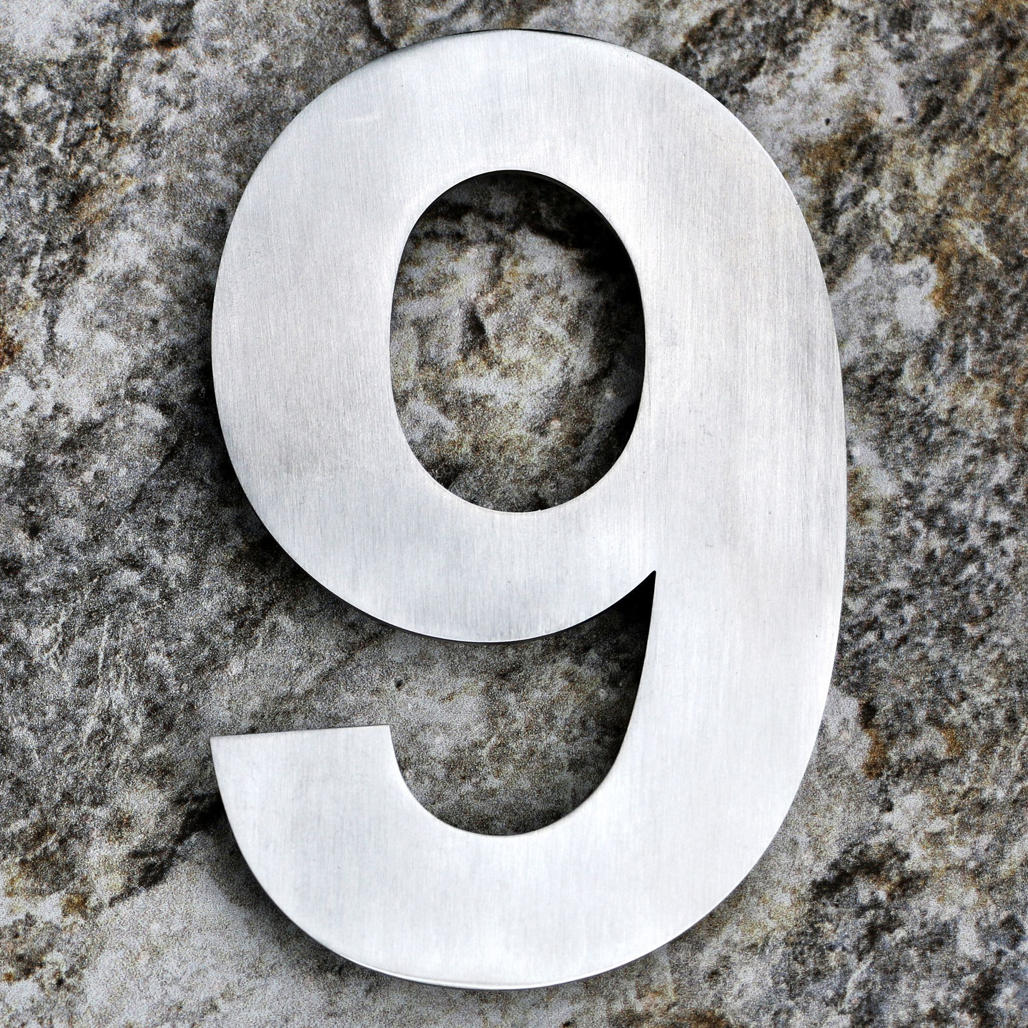 QT EXTRA LARGE Modern House Number Inch Brushed Stainless - 10 inch metal house numbers