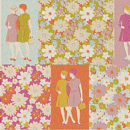 Sew Modern : Melody Miller - Ruby Star Sparkle - Ruby Stories - Orange/Magenta